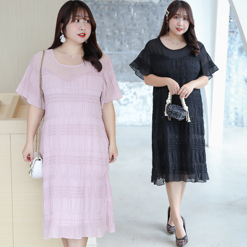[Xuan Chen] Fat Mm French Dress Sweet Cake Dress Summer New Style Plus-sized Slimming Skirt On Behalf Of 1841