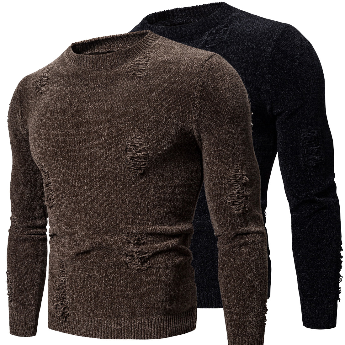 New Mens Sweaters Plus Size Pullover O-neck Fashion Ripped Black Coffee Long Sleeve Warm Sweater For Male Autumn Winter Clothes