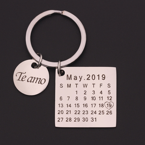 Personalized Custom Calendar KeyChain Stainless Steel Highlighted with Heart Date Engrave Date Birthday Wedding Anniversary Gift(China)