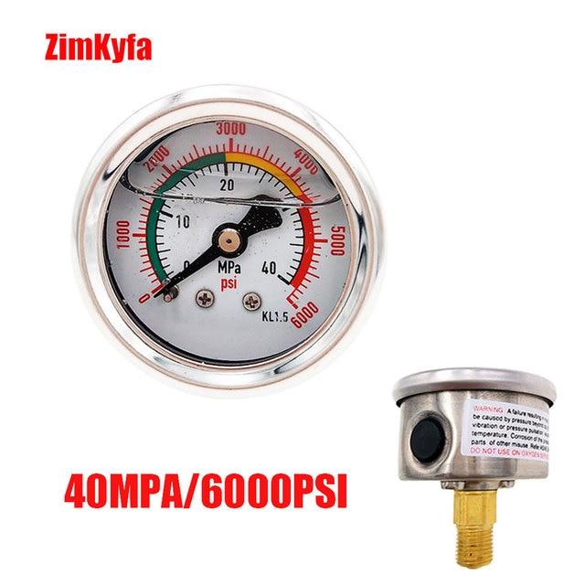 40MPA / 6000psi A Mano PCP Pompa di Aria Manometro Doppio Gamma Manometro di Alta Pressione M10 * 1.0