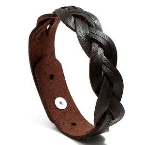 Гладкий минималистичный черный коричневый Шарм Регулируемый переплетенный крест кожаные браслеты для женщин мужчин простые женские Bracalete ...