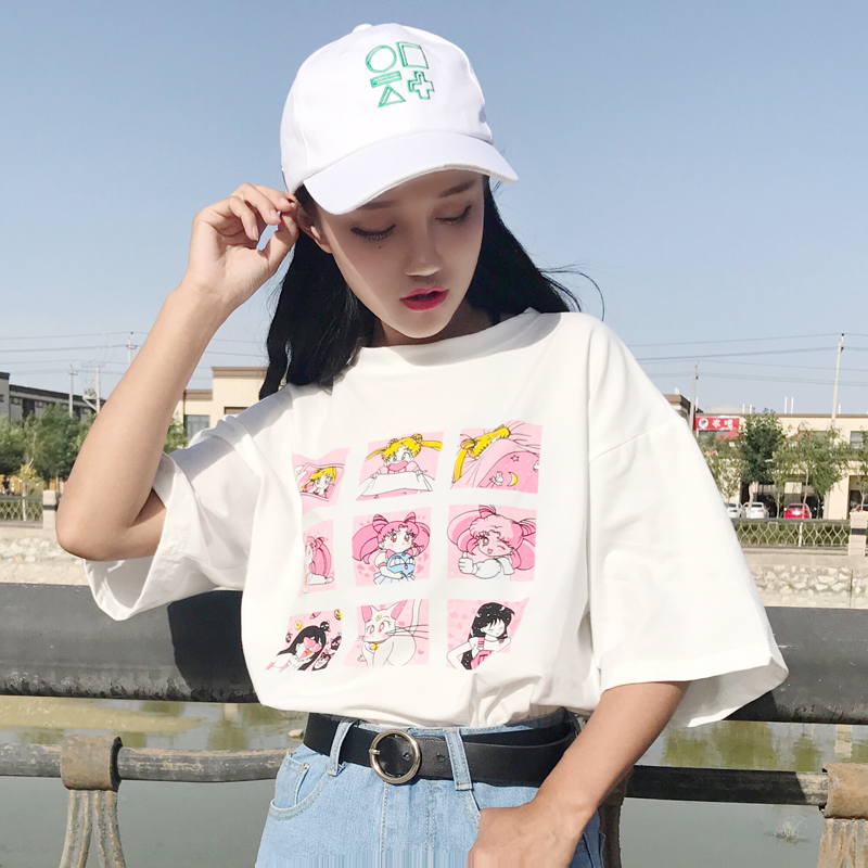 Ulzzang Korean Fashion Sailor Moon <font><b>Graphic</b></font> <font><b>Tees</b></font> <font><b>Women</b></font> Summer <font><b>2019</b></font> Harajuku Lolita Cartoon Print Loose Cute Tshirts Schoolgirl image