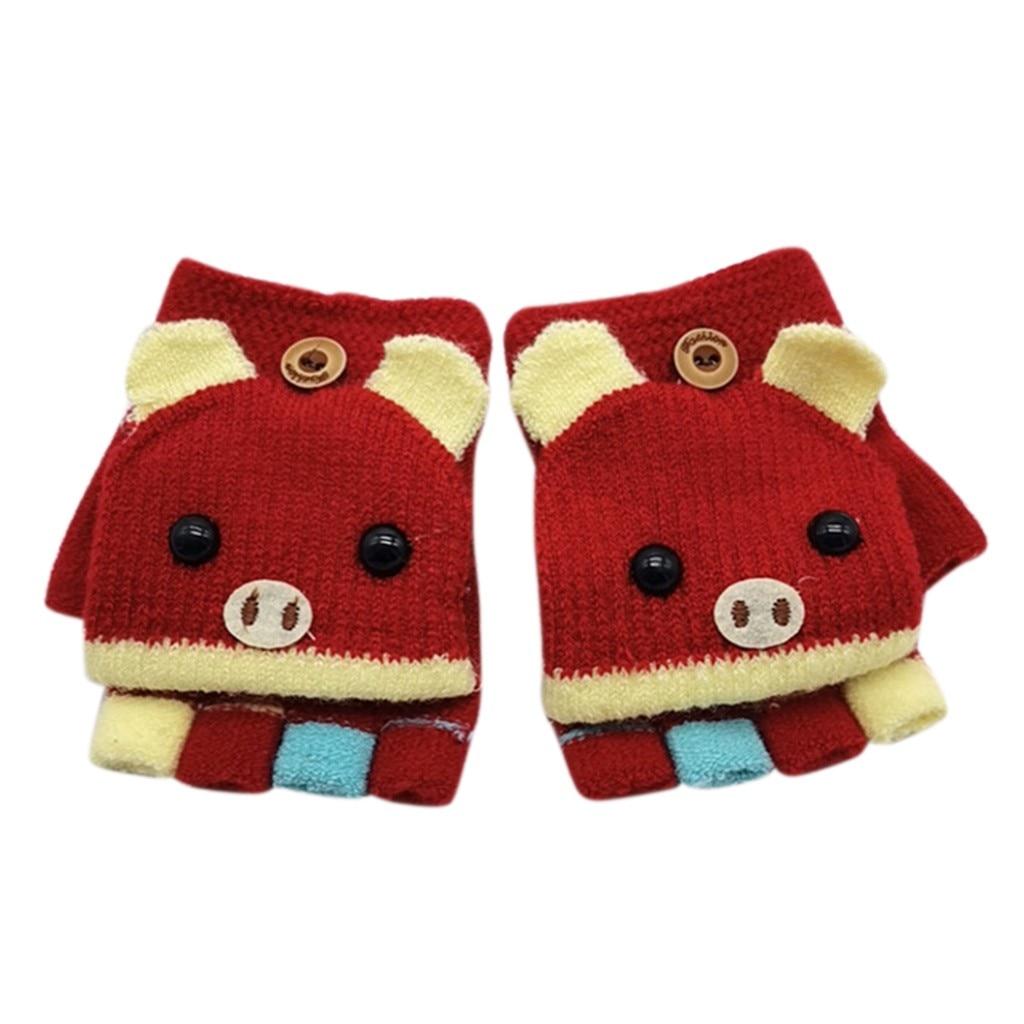 Детские зимние теплые вязаные варежки без пальцев, вязаные перчатки, удобные перчатки для девочек - Цвет: A