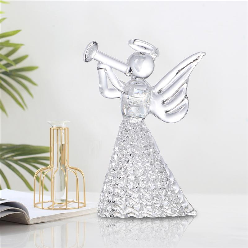 European Style Candle Holder Piper Angel Glass Sculpture Crystal Candleholder Cafe Candlestick For Christmas Party Home Decor