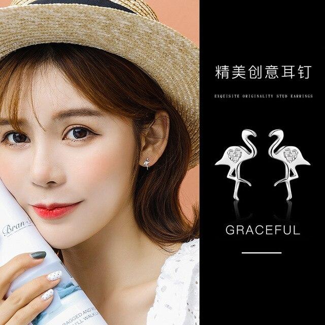 YOROMER 925 sterling silver earrings zirconia small animal stud earrings women simple earring fashion Jewelry girls white 1