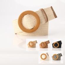 Круглый Богемия плетеный ремень женщины лето ретро женщины твердые деревянные гладкие пряжка соломы широкими горячая продажа 5см