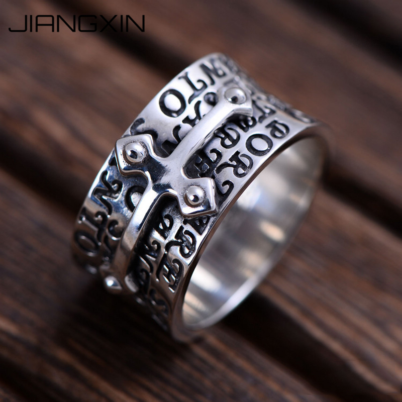 11g 925 Sterling Silver Cross Band Ring for Men Punk Rock Jewelry Thailand Vintage Silver Gift 1.2cm*2.4cm image