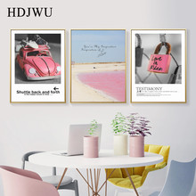 Nordic INS Canvas Painting Wall Picture Pink Simple Printing Posters Pictures for Living Room  AJ00364