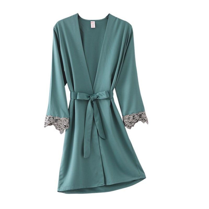 Green Women Rayon Lace Robes Wedding Bridesmaid Bride Gown Kimono Solid Robe Sleepwear Nightgown Bridesmaid Robes Size M-XXL