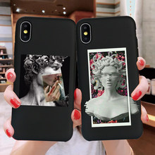 Case Voor Iphone 11 Pro Max 6 6 S 7 8 Plus X Xr Xs Max 5 5 S Se telefoon Geval Leuke Cartoon Standbeeld Abstracte Kunst Geschilderd Soft Tpu Shell(China)