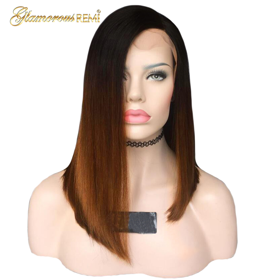 Hair Ombre Golden Brown Lace Front Human Hair Wigs For Black Women Short Straight Brazilian Bob Wig Natural Hairline Preplucked