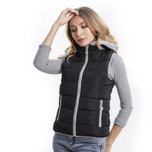 Coats women cotton hooded down vest removable hat for women thicken winter warm vests outerwear(China)