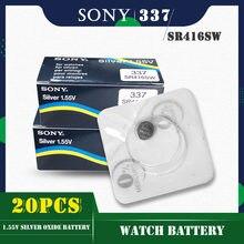 20 sztuk/partia dla SONY oryginalny 337 SR416SW 1.55V baterie guzikowe tlenku srebra LR416 337A AG6 dla zegarka pojedyncze ziarna pakowania