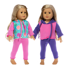New Born Baby Doll casual coat sport Clothes Sets 18 Inch American Dolls clothes Set