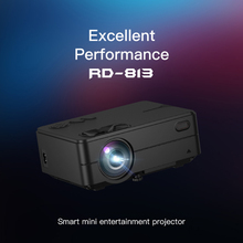 Rigal RD-813 Android Projector 1280 x 720P WiFi Multi Screen Projector Home Theater Proyector 3D Movie HD Projector 1080P buianuwod g08 home theater projector 480p 720p led 150 full hd 1080p wifi android bluetooth proyector support ac3 dolby sound