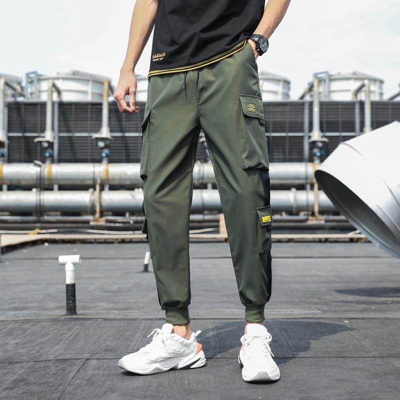 Bolsos laterais dos homens carga harem calças 2021 fitas preto hip hop casual masculino joggers calças moda casual streetwear calças 5