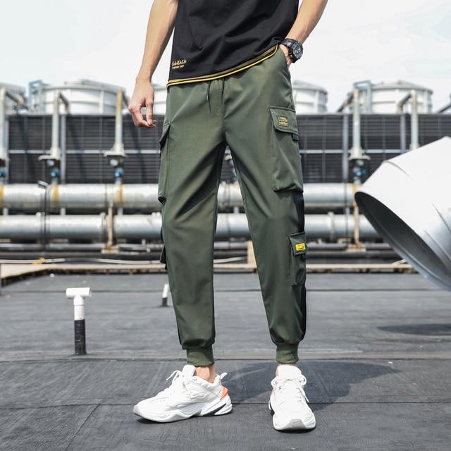Pantalones Cargo de harén con bolsillos laterales para hombre, pantalón negro de Hip-Hop, informal, a la moda, ropa de calle, 2020 cintas 5