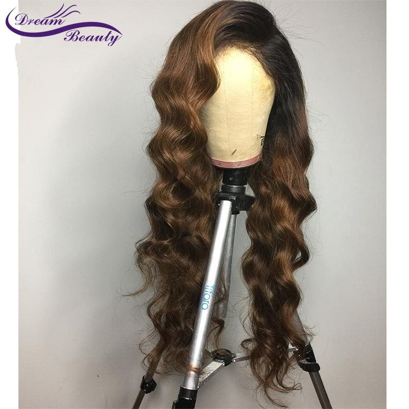 H78d2820994d44b939f34a1e20b2a72d20 Ombre Brown Wig Brazilian Remy Human Hair Wigs Pre Plucked Natural Hairline Wavy 13x4 Lace Front Wigs Baby Hair Dream Beauty