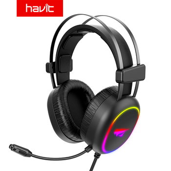 7 1 gaming headset with microphone headphones surround sound usb wired gamer earphone for pc computer xbox one ps4 rgb light Havit Gaming Headset Wired RGB Light & Surround Sound Professional Headphone With HD Microphone for PS4,PC,Xbox Game 3.5MM USB