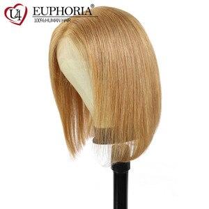 Image 3 - 13x4 perucas dianteiras do laço em linha reta loira 27 perucas de cabelo humano marrom curto bob laço frontal perucas peruano remy cabelo parte do meio eufori