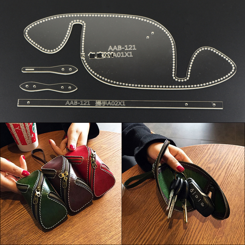 Modèle en cuir bricolage pour porte-monnaie coupe gratuite Version en carton clé de voiture sac créatif modèle acrylique outils en cuir faits à la main