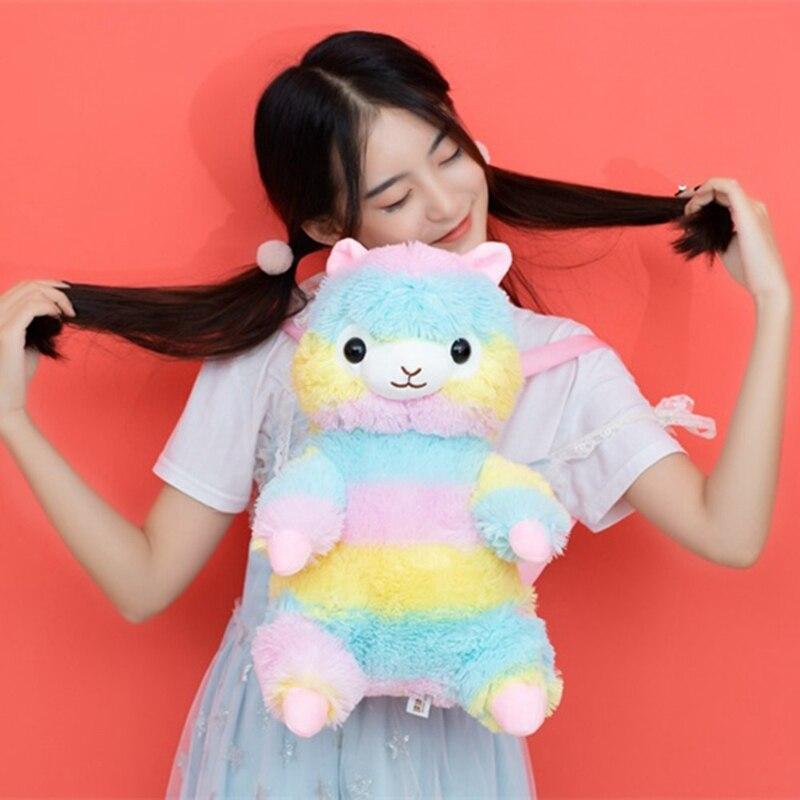 Cute Plush Alpaca Backpack Japanese Kawaii Bunny Backpack Stuffed Rabbit Toy Children School Bag Gift Kids Toy For Girl in Plush Backpacks from Toys Hobbies