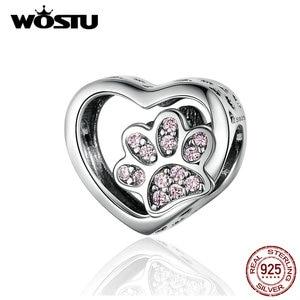 WOSTU Luxury Heart Dog Paw Beads 925 Sterling Silver Pink Enamel Charm Fit Original Bracelet Pendant Silver 925 Jewelry CQC1191(China)