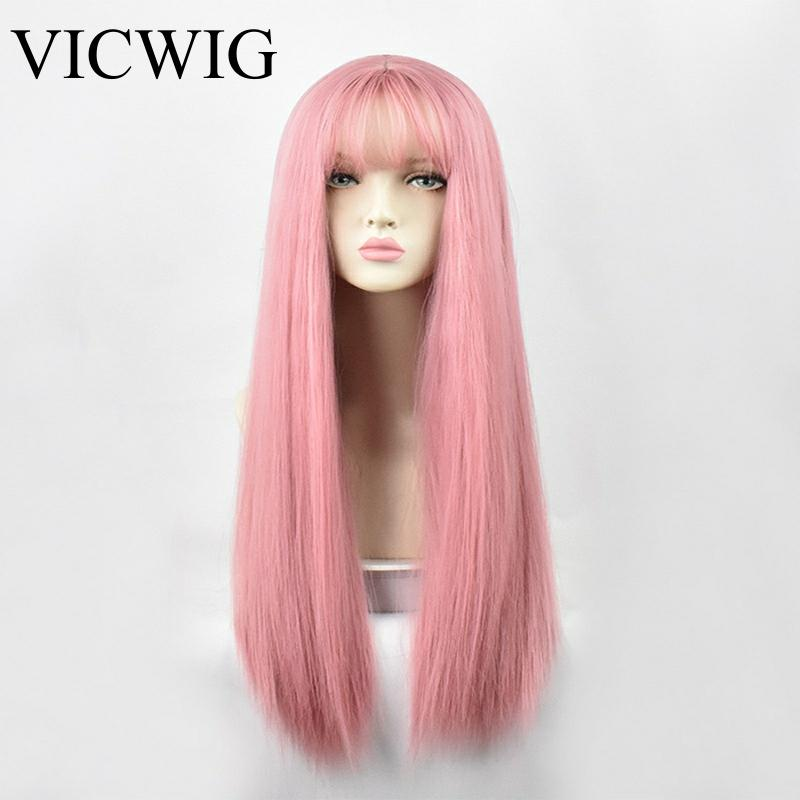 VICWIG Cosplay Wig With Bangs Synthetic Straight Hair 24 Inch Long Heat-Resistant Pink Wig For Women