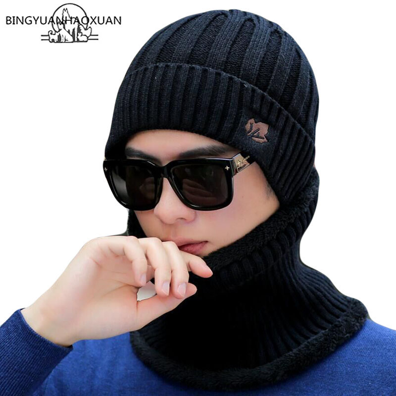 Winter Skullies Knitted Wool Beanies Men's Hat Sets Scarf Man Hip Hop Cap Maple Leaf Beanies Plus Velvet Warm Hats For Men Hood