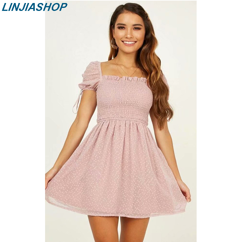 Vintage Women's Mini Dress Square Neck Short Puff Sleeve High Waist Elastic Soft Elegant Holiday Summer Women Party Dress