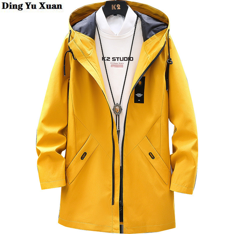 Mens Long Hooded Trench Coat Masculino 2020 Spring Autumn Men Black Grey Yellow Blue Trenchcoat Korean Casual Menteau Homme