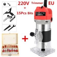 ЕС 220 В США 110 в 800 Вт деревообрабатывающий электрический триммер фрезерование древесины гравировальный долбежный обрезной станок ручная резьба по дереву маршрутизатор