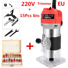 EU 220V US 110V 800W Woodworking Electric Trimmer Wood Milling Engraving Slotting Trimming Machine Hand Carving Wood Router cheap JOUSTMAX 50Hz 6 35mm 30000rpm Electric Trimming Machine Home DIY for wood cutting trimming slotting and making holes