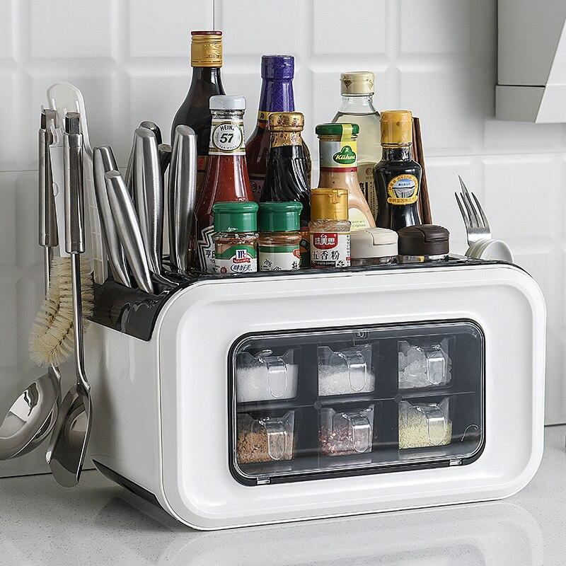 Multi-function Kitchen Organizer Storage Box Pantry Organizer Kitchen Shelf Condiment Box 6 Grids Kitchen Holder With Dust Cover