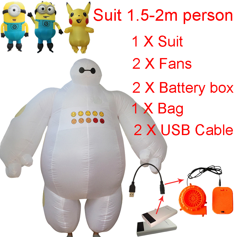 Inflatable Baymax Costume Big Hero Minion Anime Cosplay Halloween Baymax Costume For Kids Women Men Adult Pikachu Mascot Costume