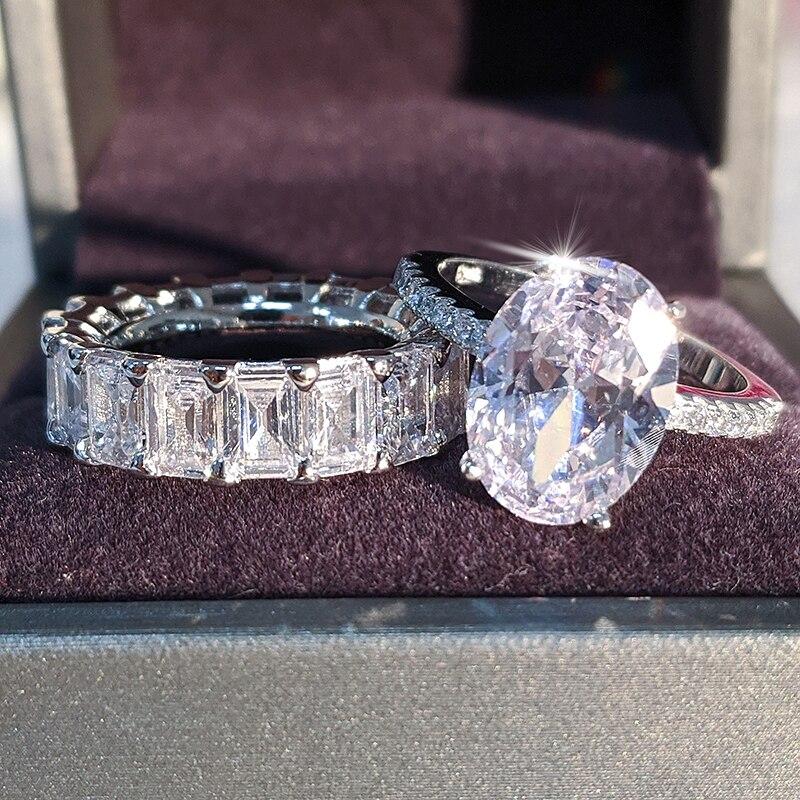 2020 nouveau luxe ovale original 925 en argent sterling bague de mariage ensemble pour femmes dame anniversaire cadeau bijoux livraison directe R5239S - 3