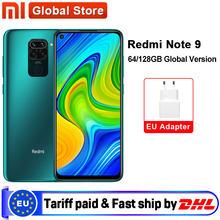 Versão global xiaomi redmi nota 9 3gb 64gb/4gb 128gb smartphone mtk helio g85 octa núcleo 48mp quad câmera traseira 6.53