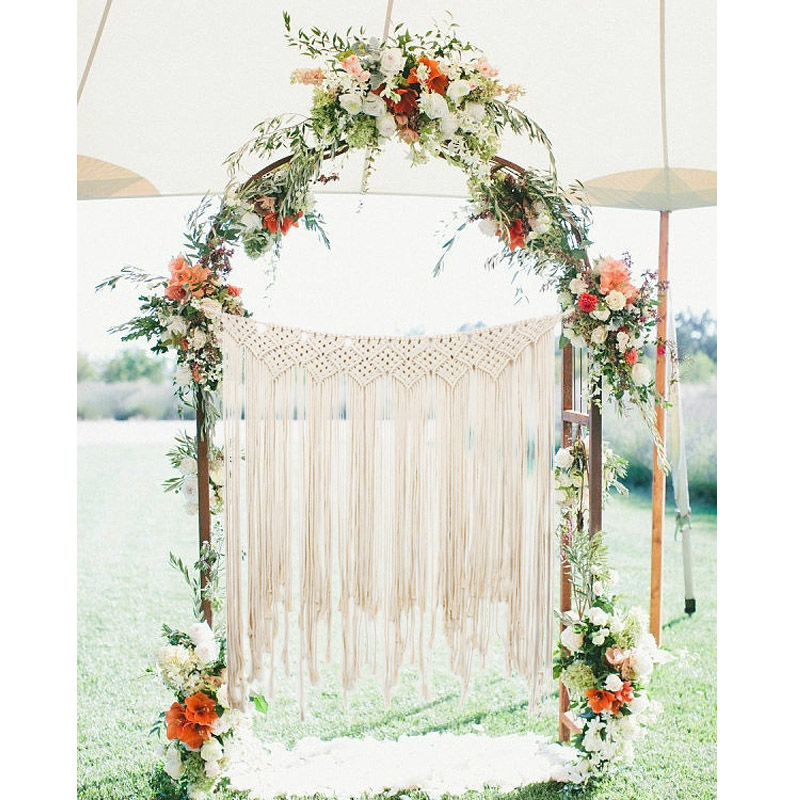Cotton Rustic Boho Wedding Macrame Backdrop Curtains Wall Hanging Tapestry Decor