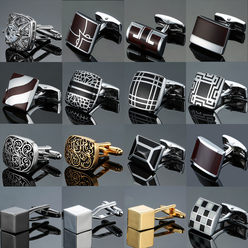 High Quality Classic Men's Shirt French Square Copper Cufflinks Enamel Vintage Cube Cuff Links Jewelry Gifts For Men Accessories