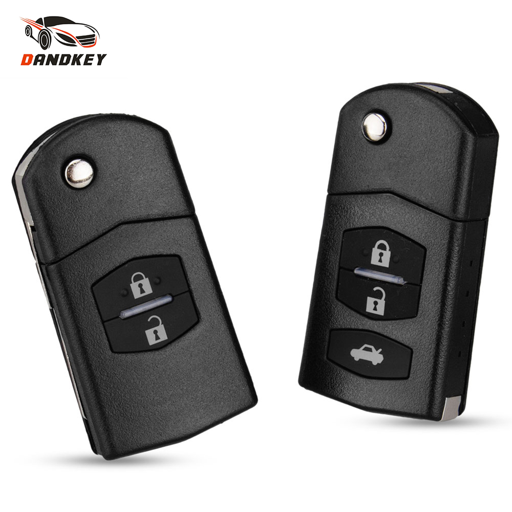 Dandkey For MAZDA 3 5 6 Series M6 RX8 MX5 Key Case Car 2 Buttons Uncut Blade Replacement Remote Flip Folding Blank Key Shell image