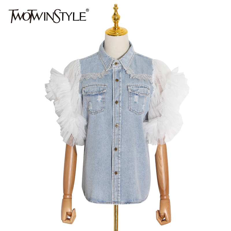 TWOTWINSTYLE Patchwork Ruffle Denim Jackets For Women Lapel Collar Short Sleeve Tassel Pocket Jacket Female 2020 Spring Clothing
