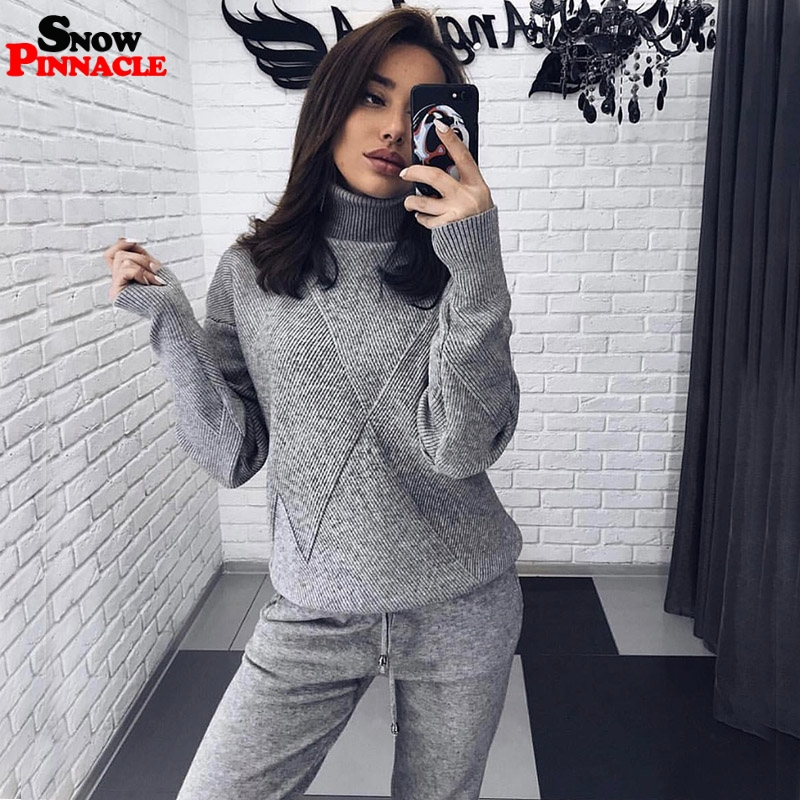 Fashion women knitted customs sets Autumn winter Turtleneck  pullovers And Long pants Suits 2 Piece set Knit pant Sporting  suitWomens Sets