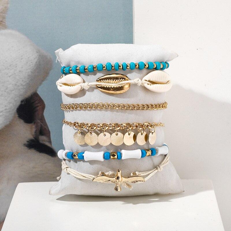 Bohemian Beaded Ankle Bracelets Set Multilayer SEAGULL Shell Tag Tassel Charm Bracelets Women Anklet Foot Jewelry Gift 6Pcs