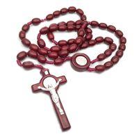 يسوع خشبية الخرز 8 مللي متر حبة المسبحة الصليب قلادة قلادة المنسوجة حبل سلسلة مجوهرات اكسسوارات