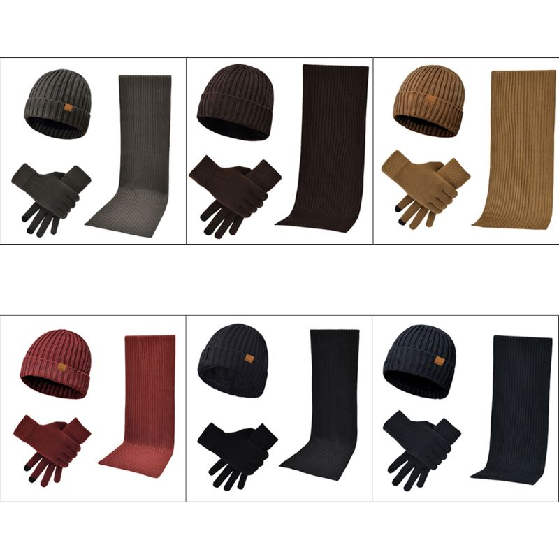 Unnisex 3 In 1 Winter Warm Ribbed Knit Beanie Hat Long Scarf Touch Screen Gloves