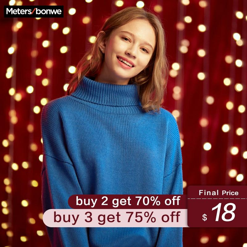 Metersbonwe 2020 Oversize Knitted Sweater Women Pullovers Turtleneck Tops Spring Autumn Basic Women Loose Candy Colors Sweaters