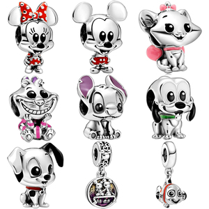 Couqcy April New 925 Sterling silver Lilo Stitch & Pluto Charm Fit Pandora Bracelet 101 Dalmatians Patch Charm DIY Bead Jewelry(China)