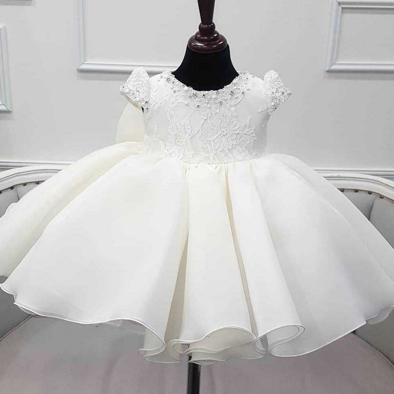 Baby Girl's Birthday Baptist Party White Bead Dress Flower Girl's Wedding Party Bridesmaid's Lace Dress