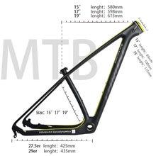 Wzdłużne rama karbonowa 29er 15 17 19 karbon mtb rama 29 er BSA BB30 rower rama maksymalne obciążenie 250kg 2 lata gwarancji 18 kolorów