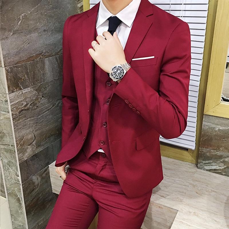 MEN'S Suit Set Three-piece Set Teenager Korean-style Marriage Formal Wear Single West Coat Slim Fit Casual Small Suit